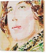 Oscar Wilde Watercolor Portrait.3 Wood Print