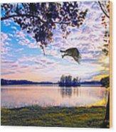 Osprey Leaving Perch Sundown Lake Wood Print