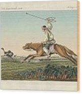 Ostrich Hunting Wood Print