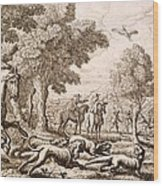 Otter Hunting By A River, Engraved Wood Print