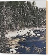 Ouareau River And Snow Covered Wood Print