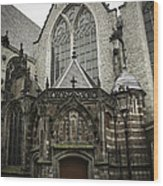 Oude Kerk Door With Bikes Amsterdam Wood Print