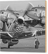 Our American Friends - Mustang And C-47 Troop Carriers Wood Print