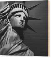 Our Lady Liberty In B/w Wood Print
