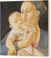 Our Lady Nursing The Child Wood Print