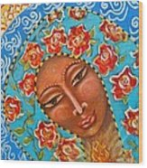 Our Lady Of The Roses Wood Print