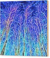 Out Doors In Blue Wood Print