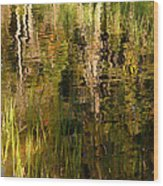 Out In The Reeds Wood Print