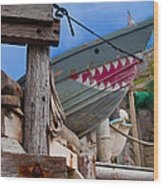 Out Of The Water - There's A Shark Wood Print by Bill Gallagher