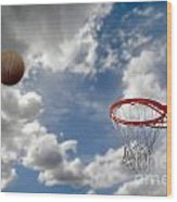 Outdoor Basketball Shot Wood Print by Lane Erickson