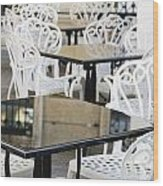 Outdoor Cafe Tables Wood Print by Oscar Gutierrez