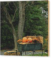 Outdoor Fall Halloween Decorations Wood Print