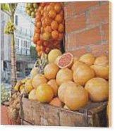 Outdoor Fruit Juice Stall  Wood Print