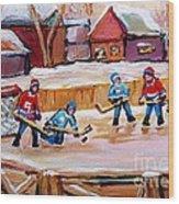 Outdoor Rink Hockey Game In The Village Hockey Art Canadian Landscape Scenes Carole Spandau Wood Print