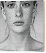 Outdoor Shot Of Young Beautiful Woman Wood Print