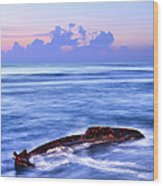 Outer Banks - Beached Boat Final Sunrise II Wood Print