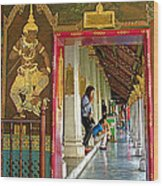 Outer Hall In Thai-khmer Pagoda At Grand Palace Of Thailand Wood Print
