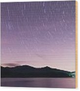 Outer Space Over Lake Santeetlah In Great Smoky Mountains In Sum Wood Print