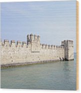 Outer Wall Scaligero Castle And Lake Garda Wood Print