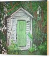 Outhouse Greenery Wood Print