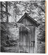 Outhouse In The Forest Black And White Wood Print