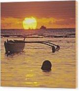 Outigger Canoe Silhouette Wood Print