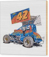 Dirt Track Racing Outlaw 42 Wood Print