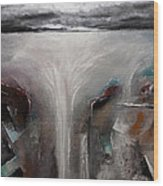 Outpour 2 Modern Waterscape Original Painting On Canvas Wood Print