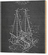 Outrigger Sailboat Patent From 1977 - Dark Wood Print