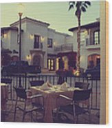 Outside Dining Wood Print by Laurie Search