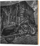 Outside The Barn Bw Wood Print