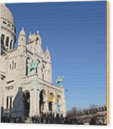 Outside The Basilica Of The Sacred Heart Of Paris - Sacre Coeur - Paris France - 01136 Wood Print by DC Photographer