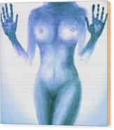 Outsider Series - Trapped Behind The Glass - In Blue Wood Print