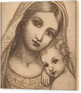 Oval Madonna Drawing Wood Print