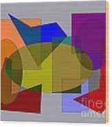 Ovals Squares Wood Print by Meenal C