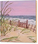Over The Dunes To The Garden City Pier  Wood Print