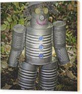 Over The Rainbow Garden Tin Man Wood Print
