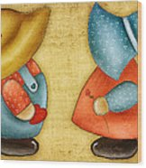 Overall Sam And Sunbonnet Sue Wood Print by Brenda Bryant