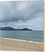 Overcast Beach Wood Print