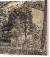 Overgrown Barn Wood Print