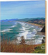 Overlooking Proposal Rock Cape Lookout Haystack Rock And Cape Kiwanda Wood Print by Margaret Hood