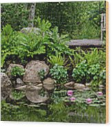 Overlooking The Lily Pond Wood Print