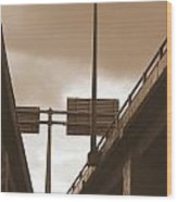 Overpass In Sepia Wood Print