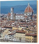 Overview Of Duomo Florence Wood Print