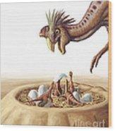 Oviraptor And Nest Wood Print