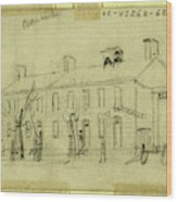 Owen House, 1860-1865, Drawing On Cream Paper Pencil Wood Print
