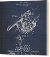 Owen Revolver Patent Drawing From 1899- Navy Blue Wood Print