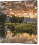Owens River Sunset Wood Print