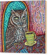 Owl At The Cafe Wood Print by Jay  Schmetz