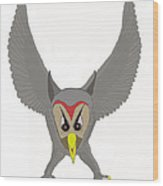 Owl Attacking Wood Print